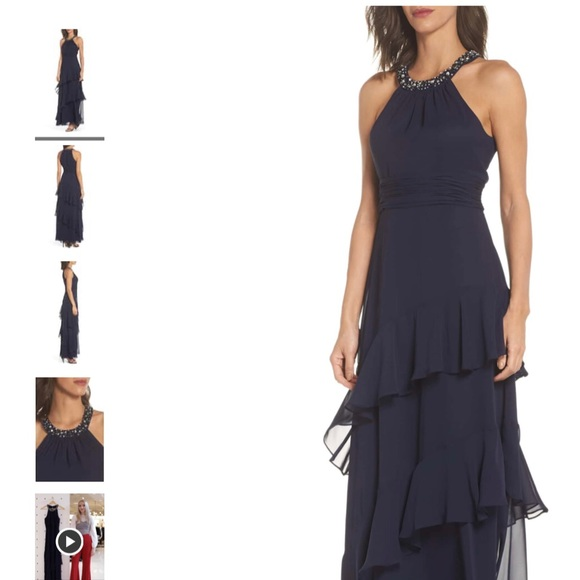 Eliza J Beaded Halter Tiered Chiffon Gown In Navy